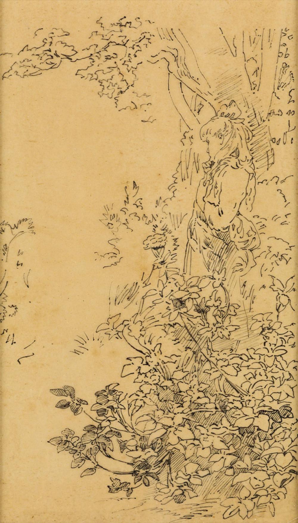 DESIGNER UNKNOWN. [FEMME PARMI LES FLEURS.] Pen and ink sketch. 8x5 inches, 21x12 cm.