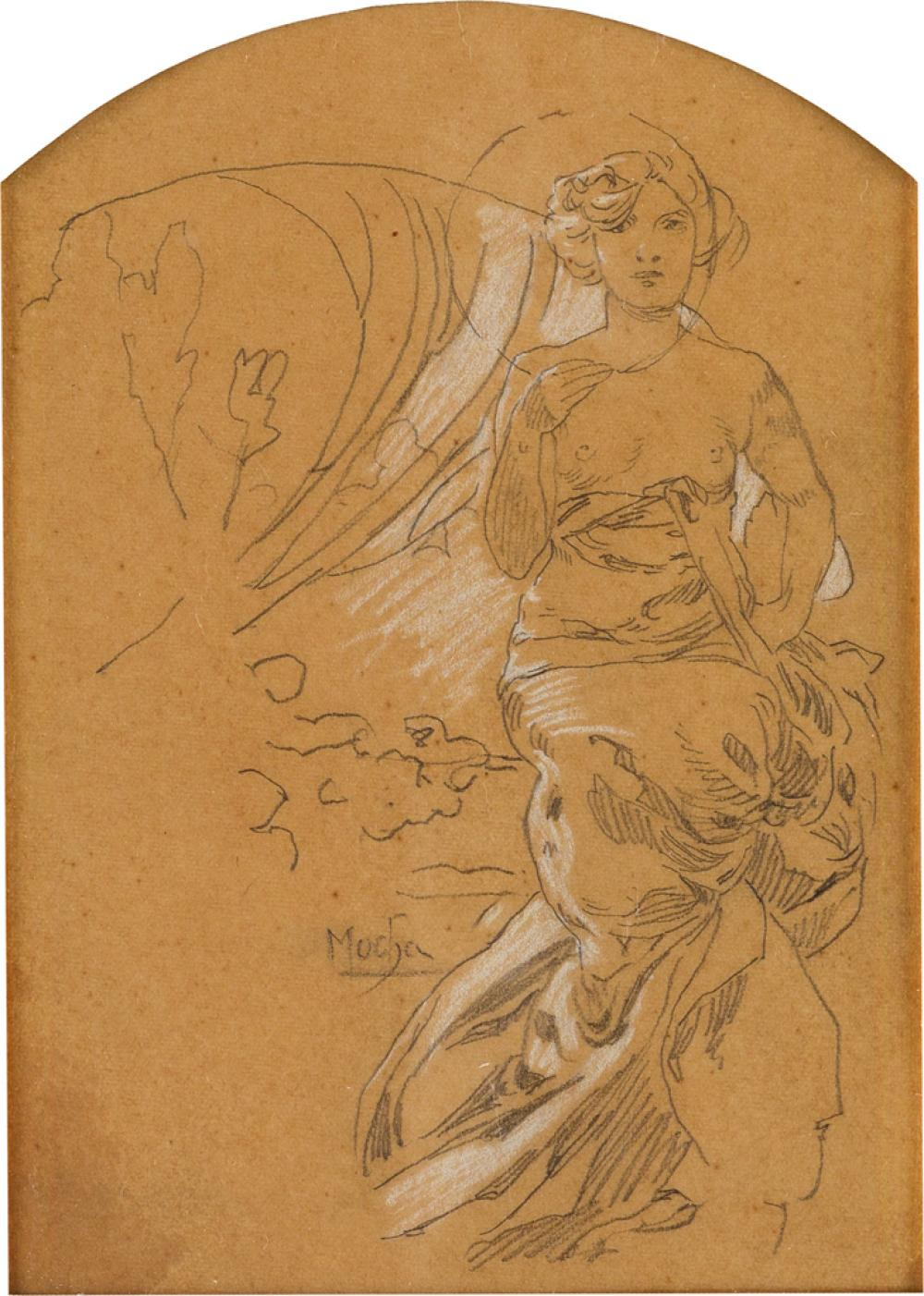 ALPHONSE MUCHA (1860-1939). [DOCUMENTS DÉCORATIFS.] Preparatory pencil sketch with white pencil highlights. Circa 1905. Approximately 7