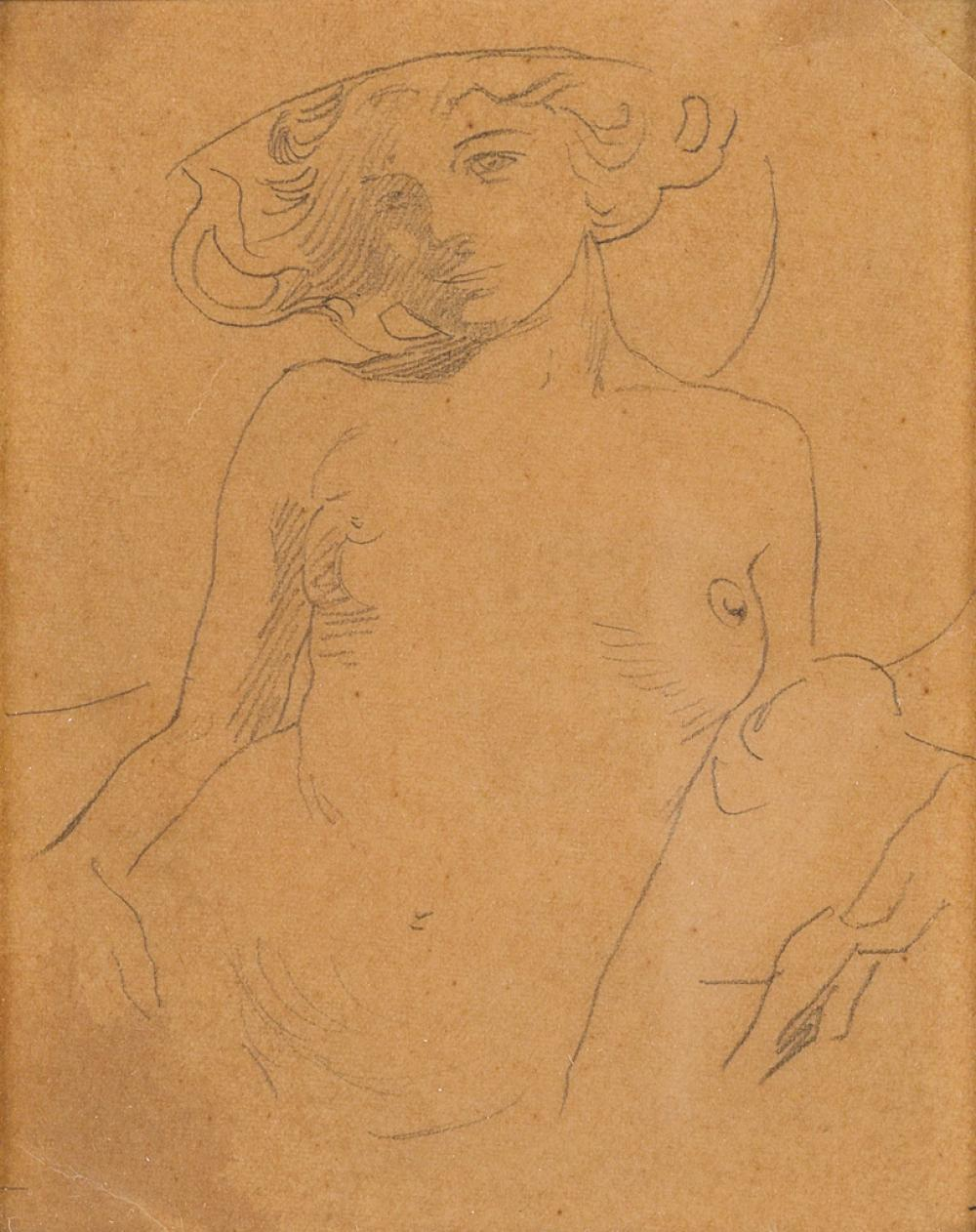 ALPHONSE MUCHA (1860-1939). [FIGURES DÉCORATIFS.] Preparatory pencil sketch. Circa 1905. 5x4 inches, 14x12 cm.