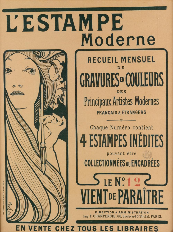 ALPHONSE MUCHA (1860-1939). L''ESTAMPE MODERNE / GRAVURES EN COULEURS. 1898. 33x23 inches, 83x60 cm. F. Champenois, Paris.