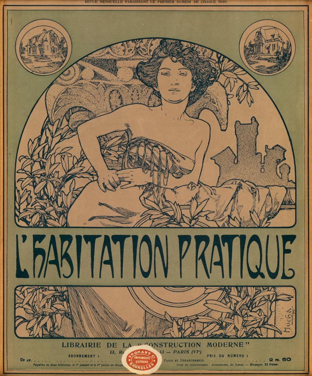 ALPHONSE MUCHA (1860-1939). L''HABITATION PRATIQUE. Magazine cover. Circa 1905. 15x12 inches, 38x31 cm. L. Ruckert et Cie, [Paris.]