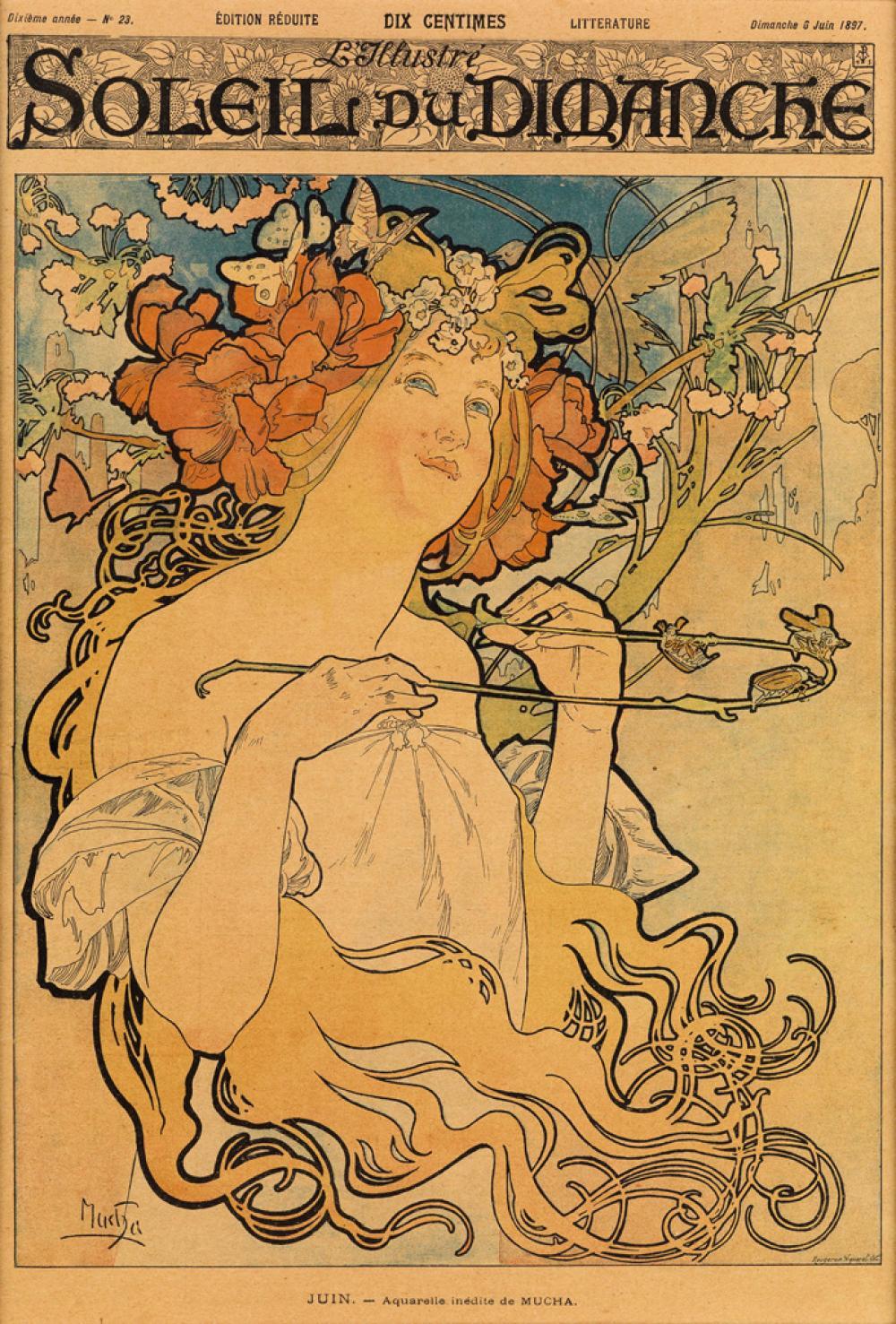 ALPHONSE MUCHA (1860-1939). SOLEIL DU DIMANCHE. Magazine cover. June 6, 1897. 14x9 inches, 36x24 cm. Rougeron Vignerot, Paris.