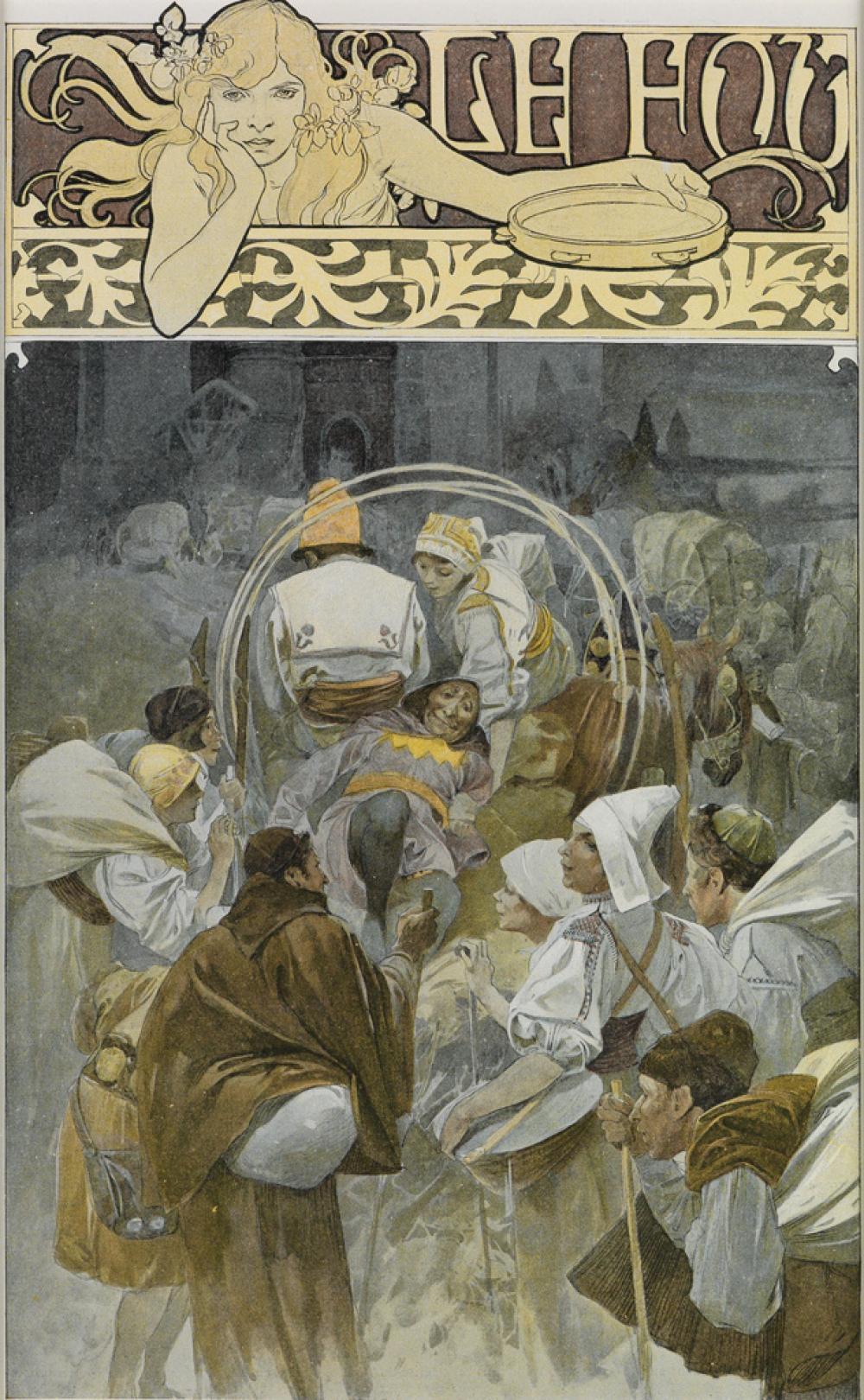 ALPHONSE MUCHA (1860-1939). LE FOU / [FIGARO ILLUSTRÉ.] Title page. 1897. 13x8 inches, 33x20 cm.