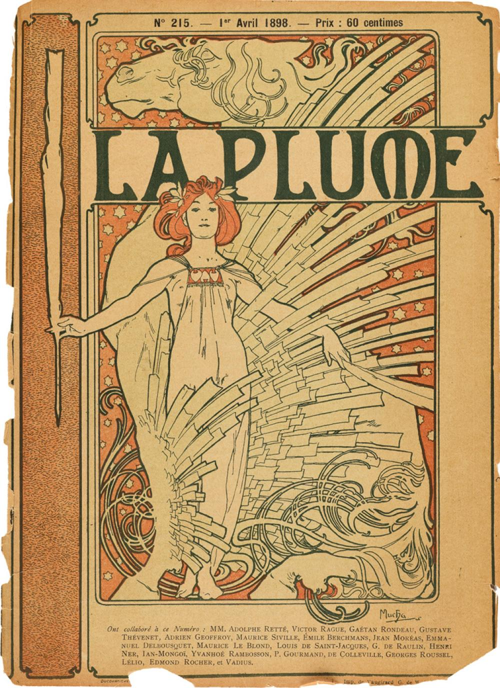 ALPHONSE MUCHA (1860-1939). LA PLUME. Magazine, April 1, 1898. 10x7 inches, 25x19 cm. Imprimerie de Vaugirard, Paris.
