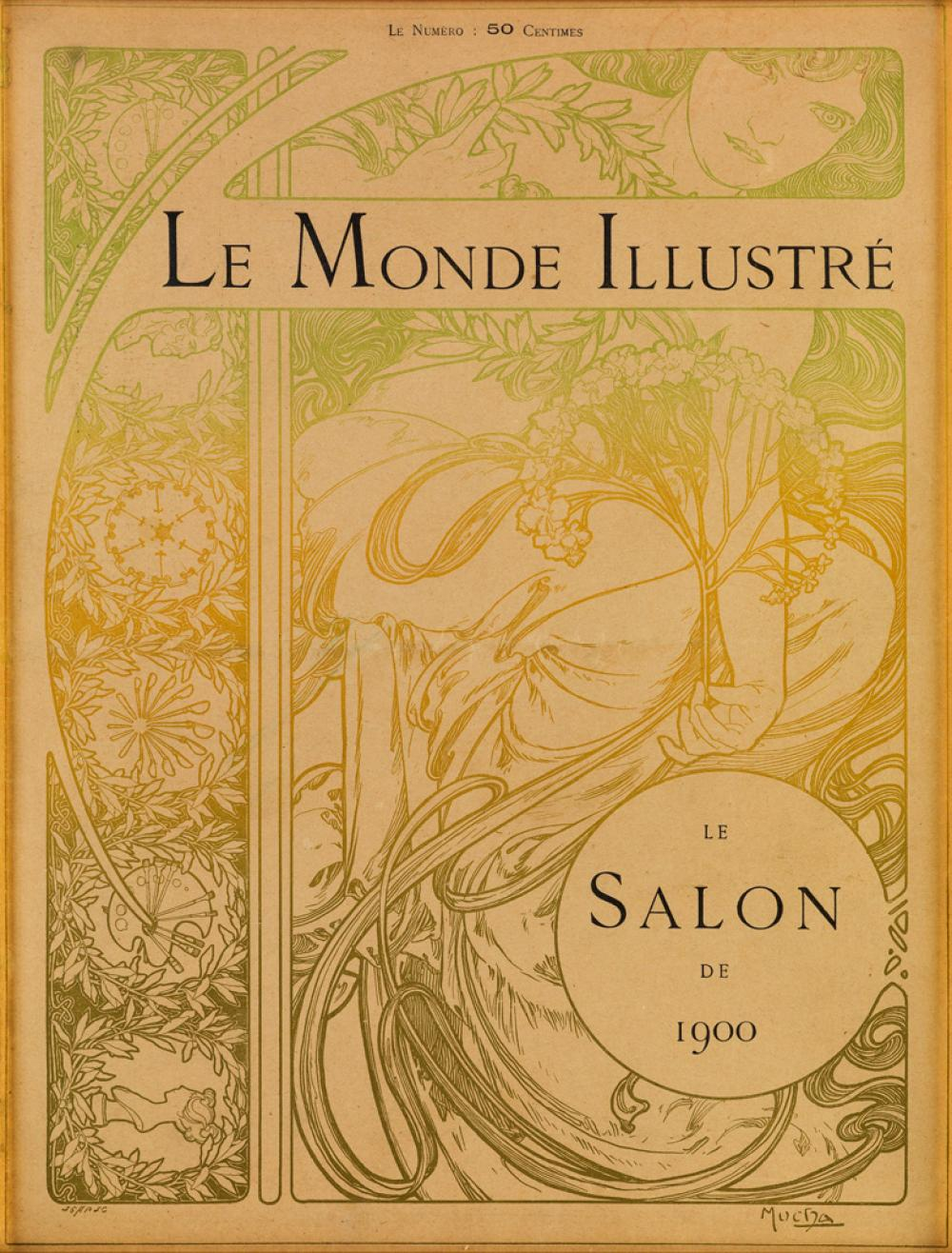 ALPHONSE MUCHA (1860-1939). LE MONDE ILLUSTRÉ. Magazine cover. 1900. 15x11 inches, 38x28 cm.