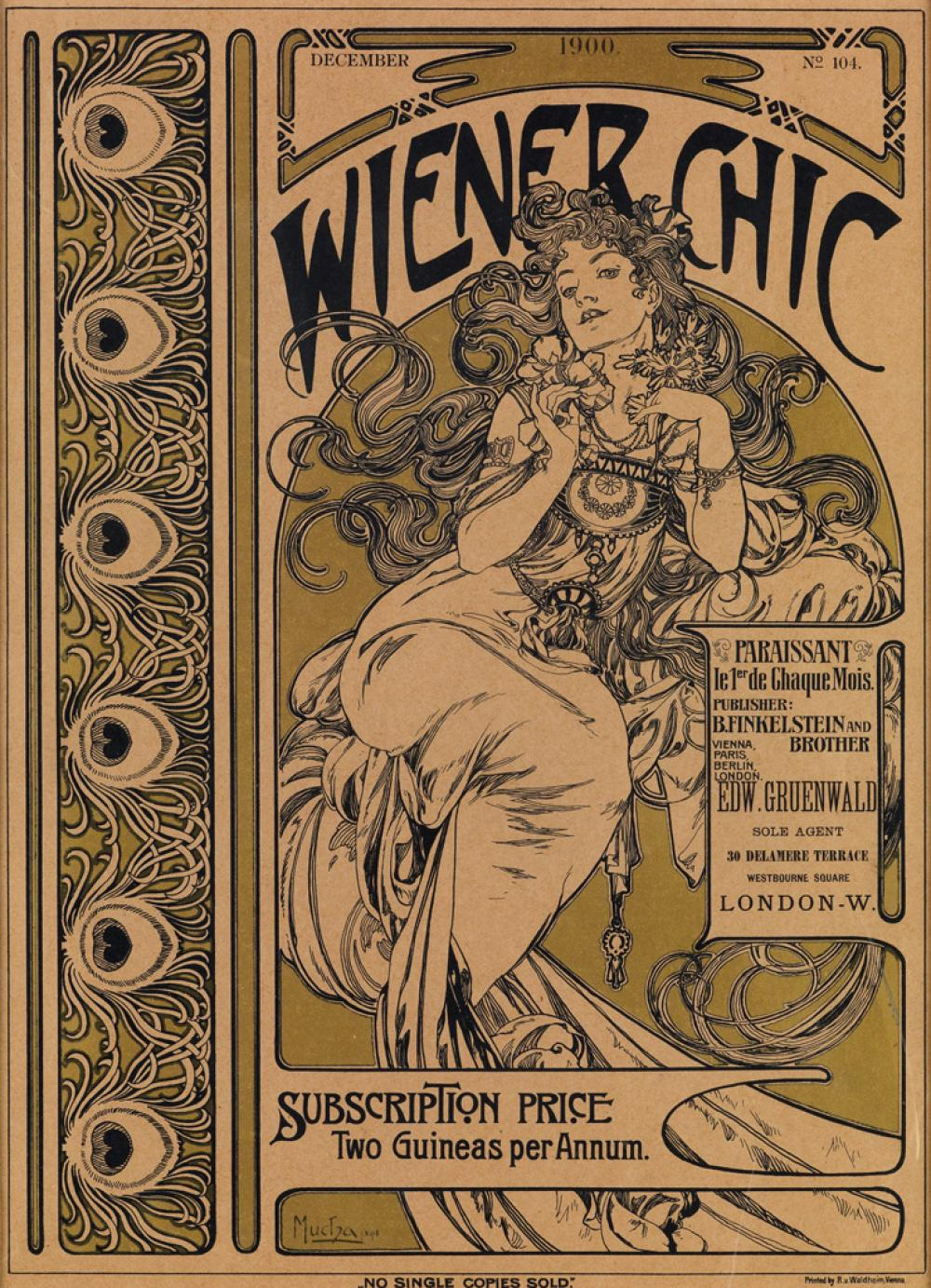ALPHONSE MUCHA (1860-1939). WIENER CHIC. Magazine cover. No. 104, December 1900. 15x11 inches, 38x28 cm. R.V. Walkheim, Vienna.