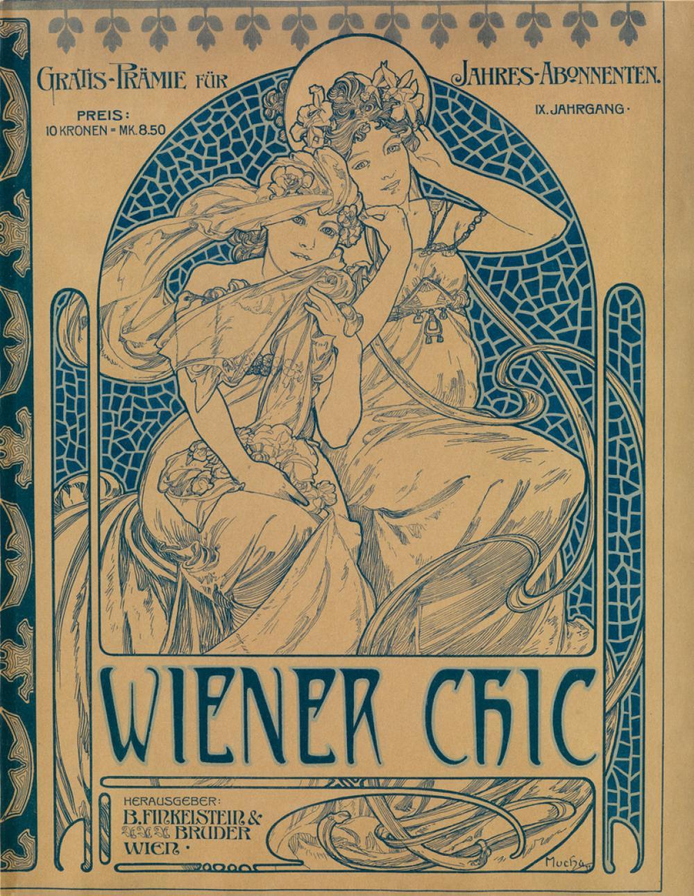 ALPHONSE MUCHA (1860-1939). WIENER CHIC. Magazine cover. 1899. 15x11 inches, 38x29 cm. B. Finkelstein & Bruder, Vienna.