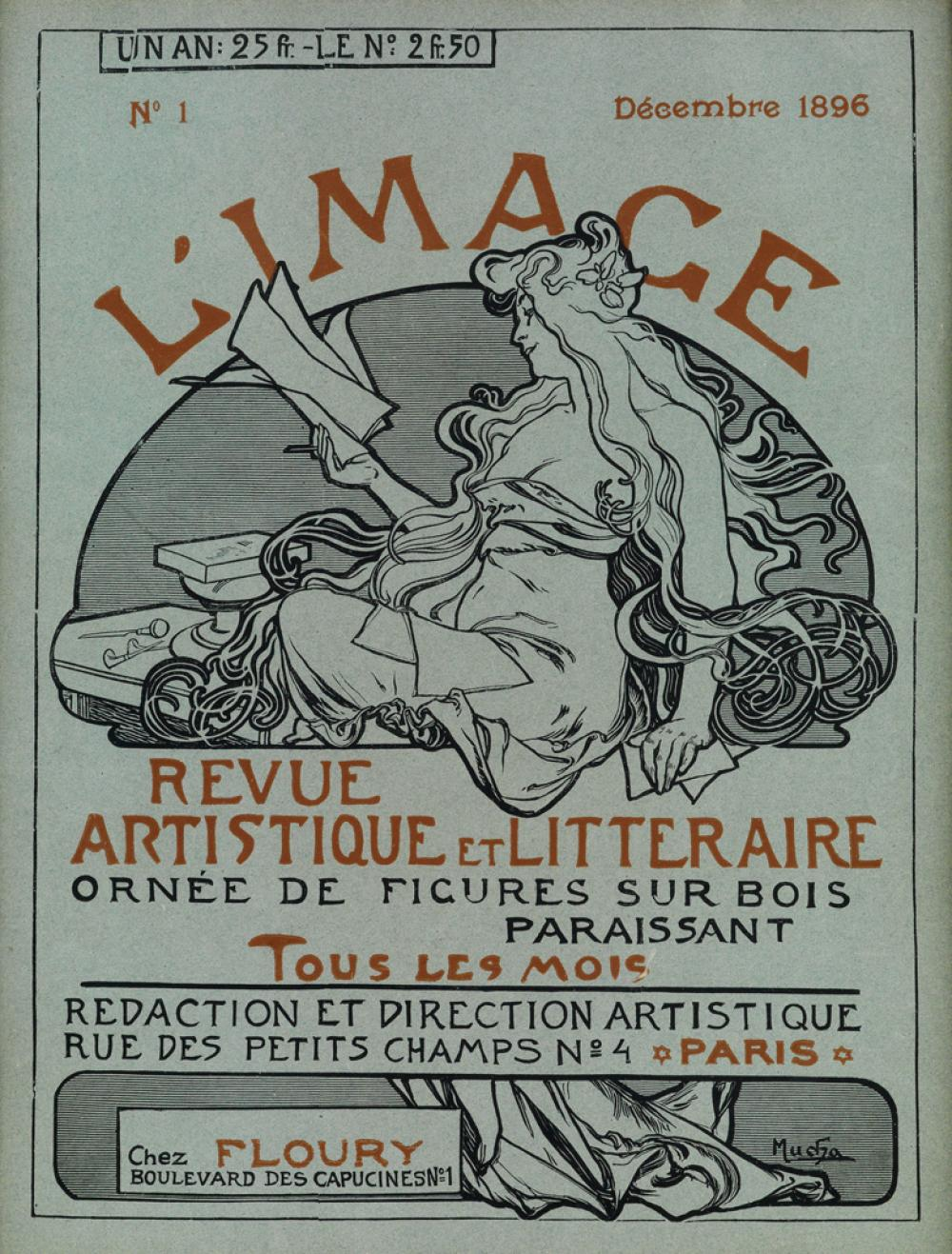 ALPHONSE MUCHA (1860-1939). L''IMAGE / REVUE ARTISTIQUE ET LITTERAIRE. Cover and back page.                     December 1896. 12x9 inc