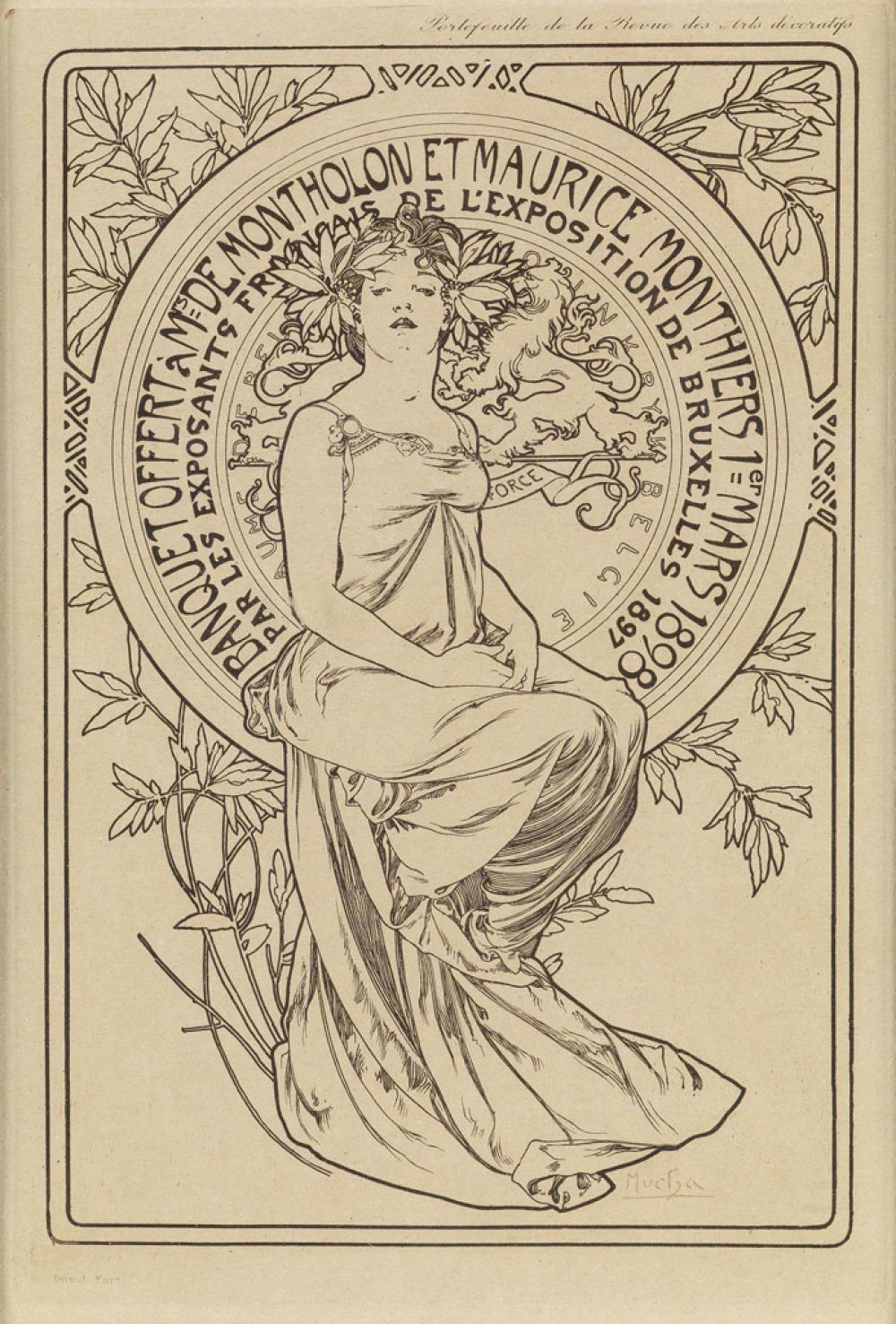 ALPHONSE MUCHA (1860-1939). BANQUET OFFERT À MRS DE MONTHOLON ET MAURICE MONTHIERS. 1898. 10x6 inches, 25x17 cm. l. Fort, [Paris.]