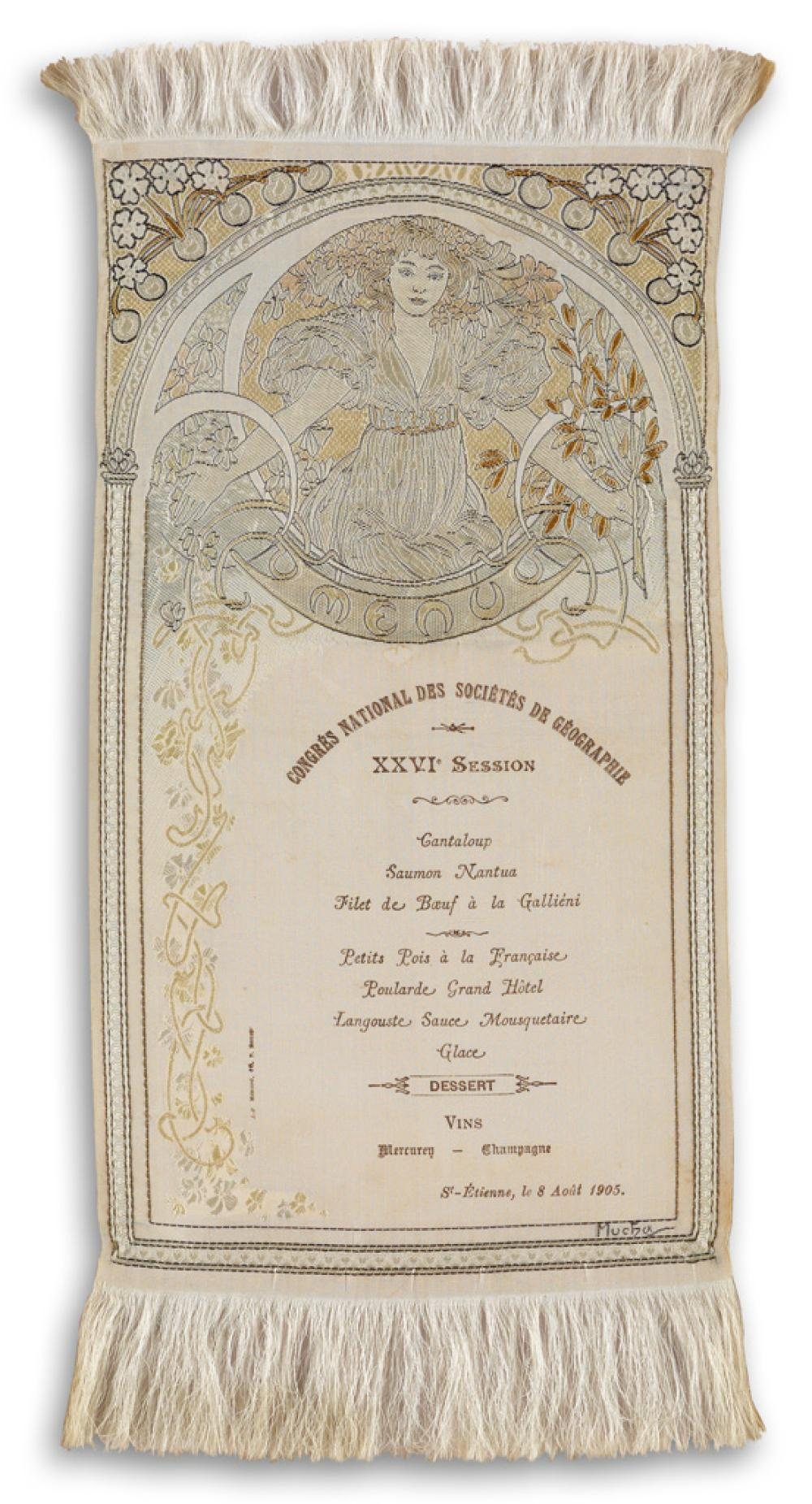 ALPHONSE MUCHA (1860-1939). CONGRÉS NATIONAL DES SOCIÉTÉS DE GÉOGRAPHIE. Menu printed on embroidered silk. 1905. 11x5 inches, 29x13 cm.