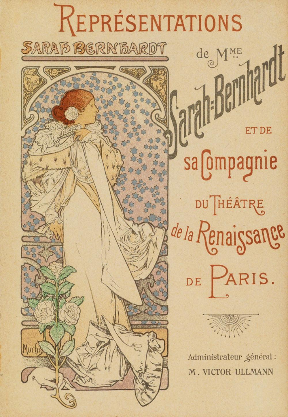 ALPHONSE MUCHA (1860-1939). REPRÉSENTATIONS DE MME SARAH BERNHARDT. Theatre program. 1898. 7x5 inches, 19x13 cm.