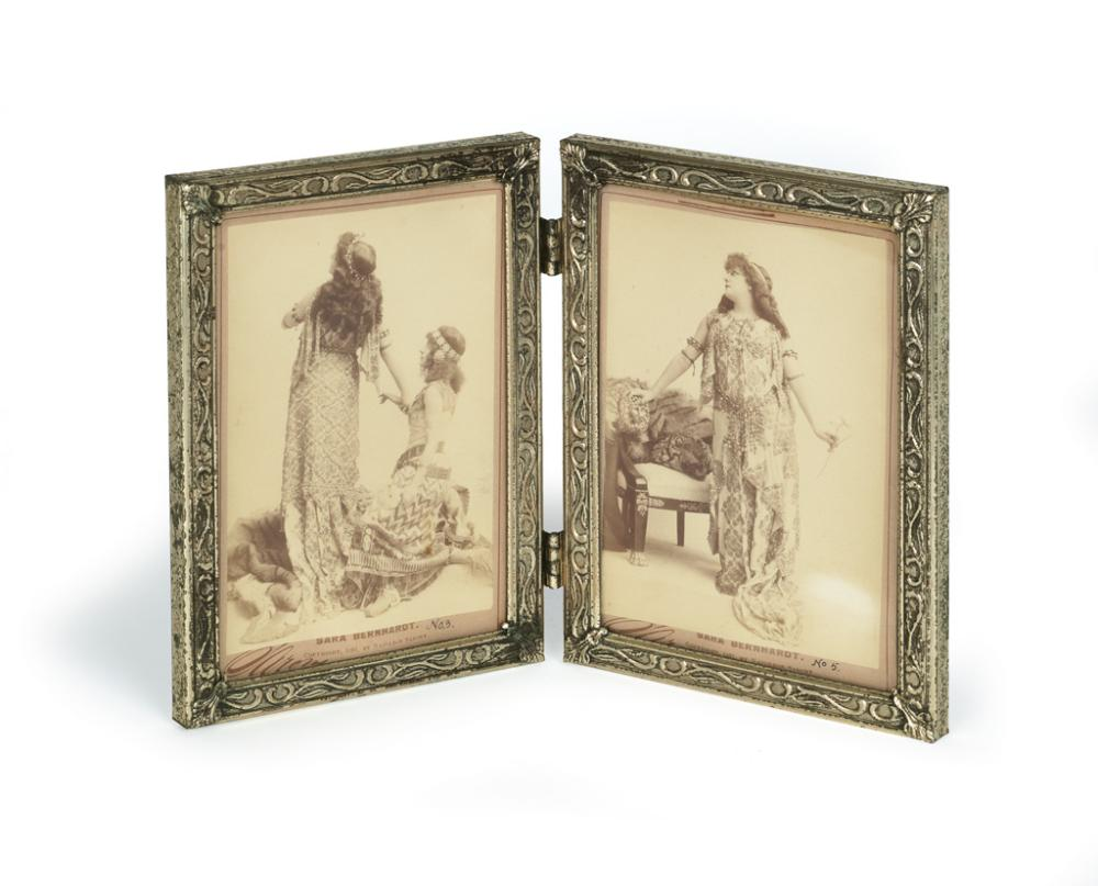 NAPOLEON SARONY (1821-1896). [SARA BERNHARDT]. Pair of promotional photographs in a decorative frame. 1891. Each 6x4 inches, 15x10 cm.