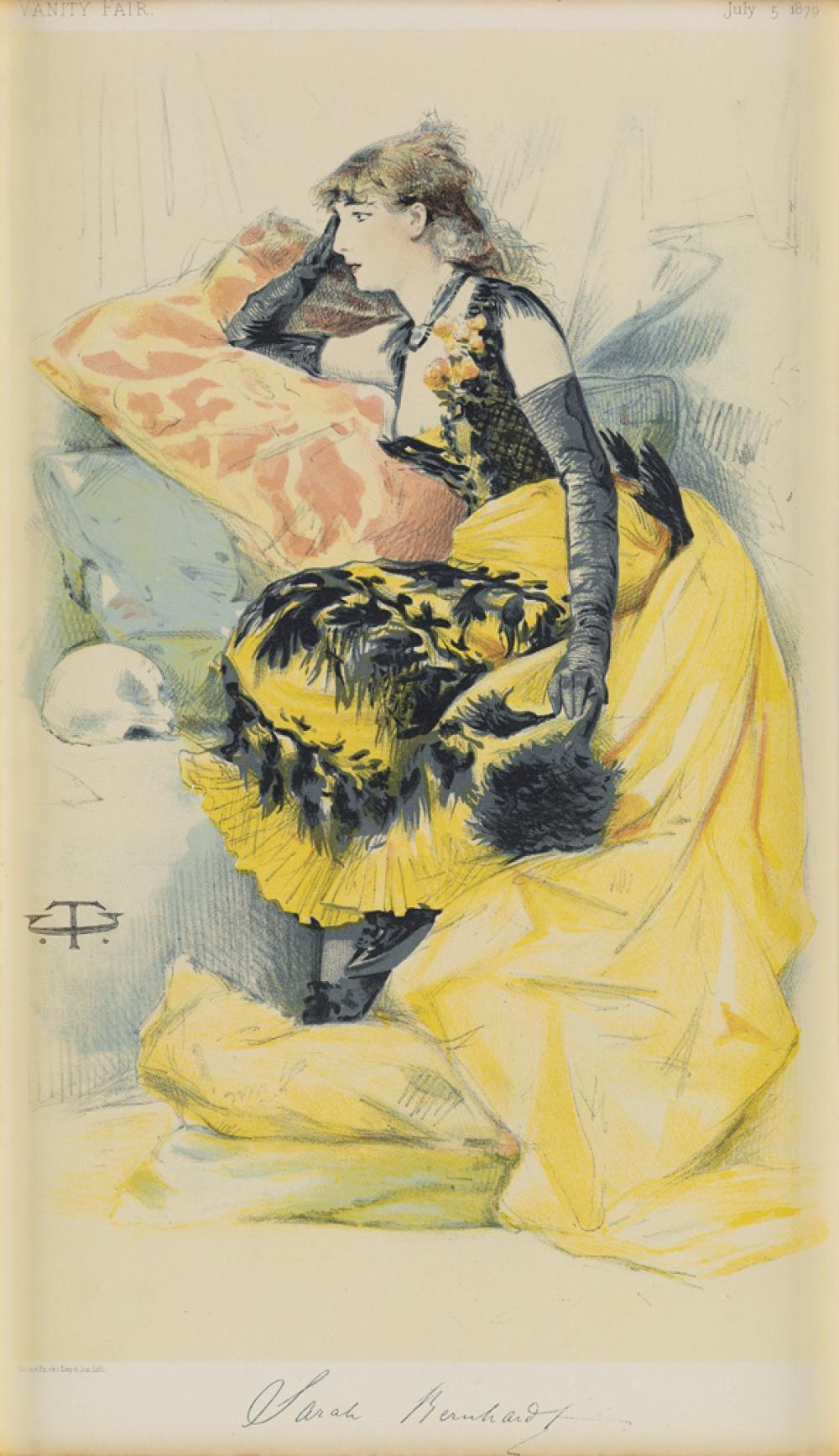 C.T. (INITIALS UNKNOWN). SARAH BERNHARDT / VANITY FAIR. 1879. 13x7 inches, 33x19 cm. Vincent Brooks Day & Son, Lith., [London.]