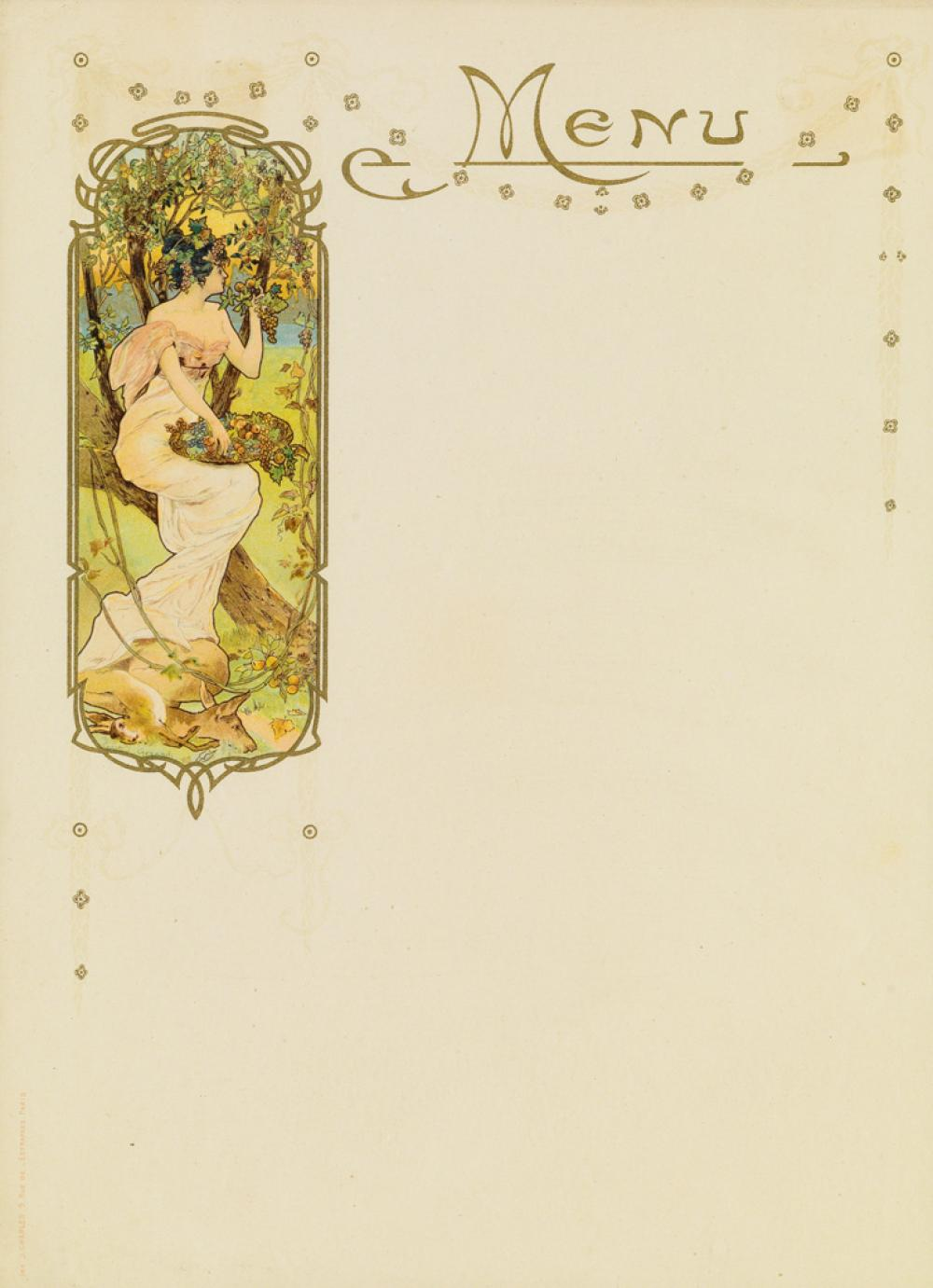 GASTON GÉRARD (1878-1969). [ART NOUVEAU.] Two menu cards. Circa 1890s. Each 11x8 inches, 29x21 cm. J. Charles, Paris.