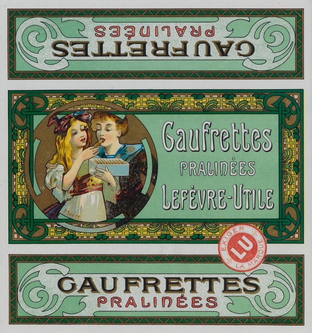 ALPHONSE MUCHA (1860-1939). GAUFRETTES PRALINÉES / LEFÈVRE - UTILE. 7x7 inches, 19x18 cm.