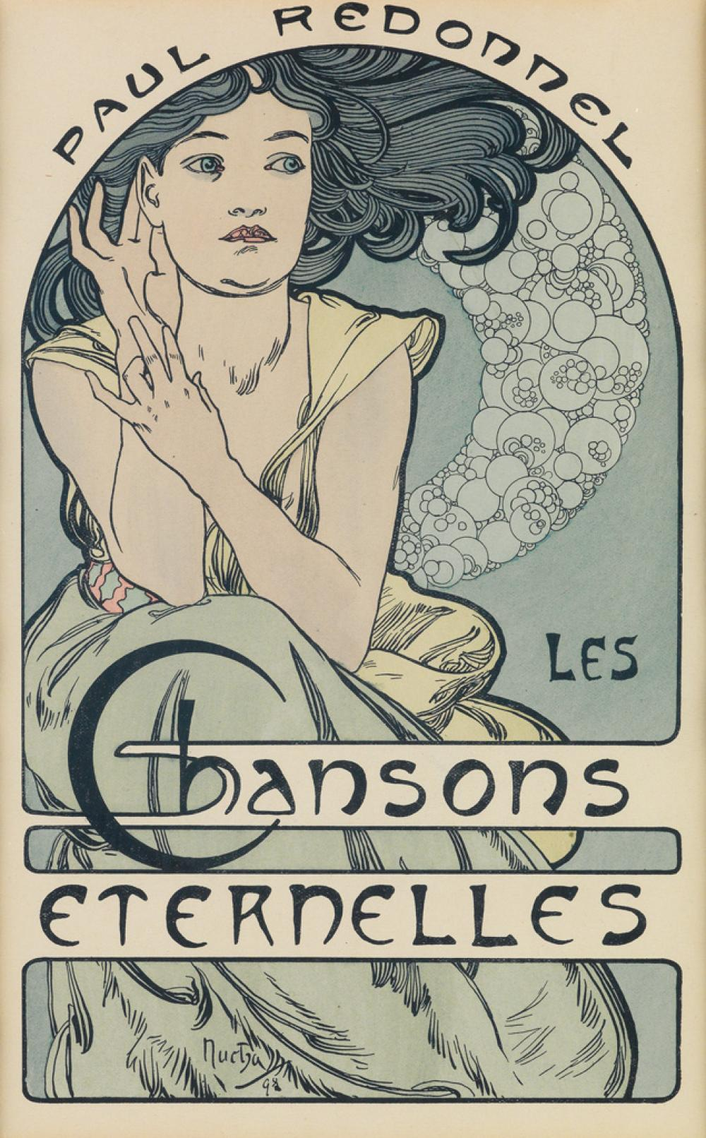 ALPHONSE MUCHA (1860-1939). LES CHANSONS ETERNELLES. Frontispiece. 1898. 10x6 inches, 26x16 cm.