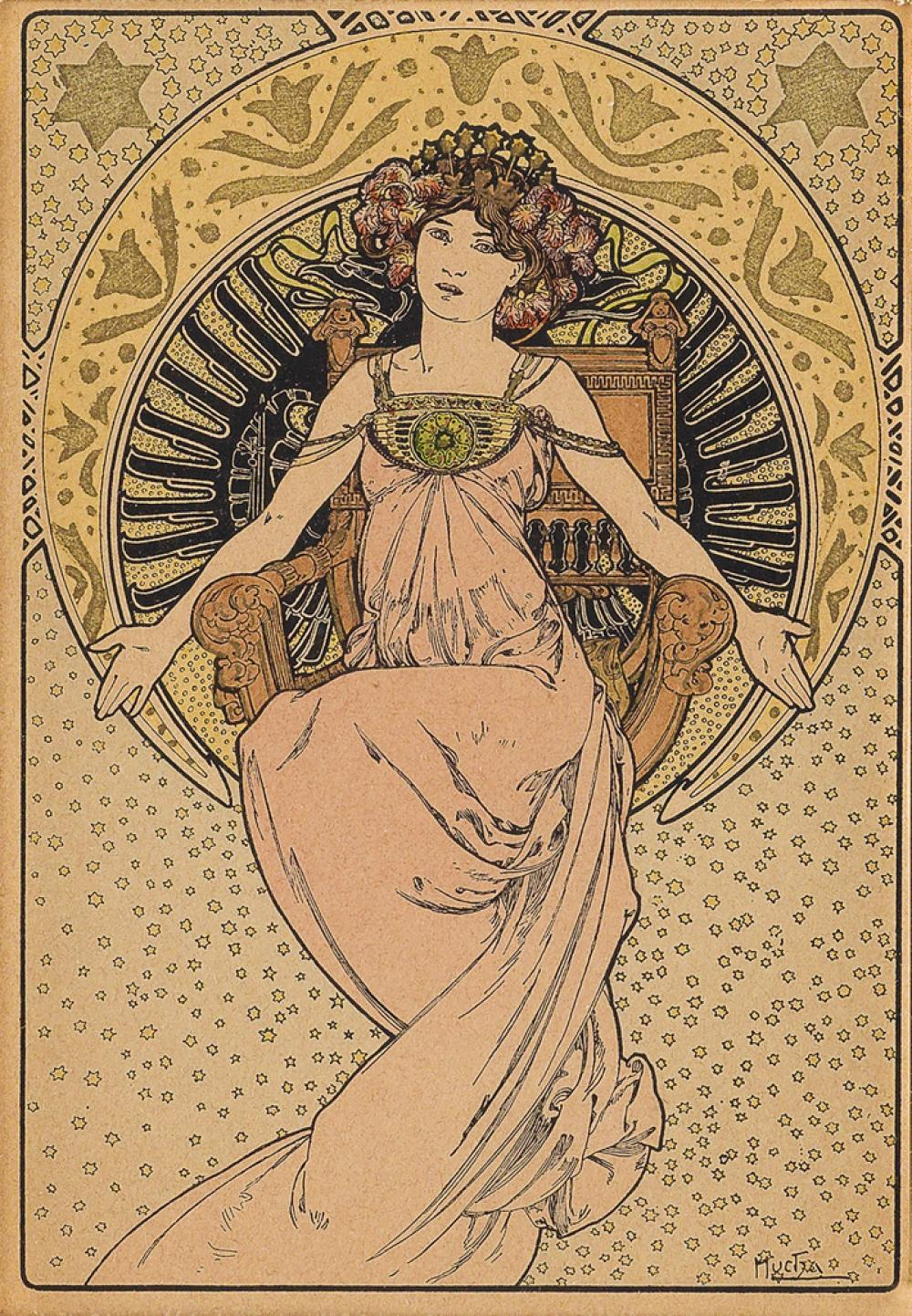 ALPHONSE MUCHA (1860-1939). [SOCIETY FOR THE BENEFIT OF AUSTRIA - HUNGARY.] Collection de Cent postcard with gilding. 1901. 5x3 inches,