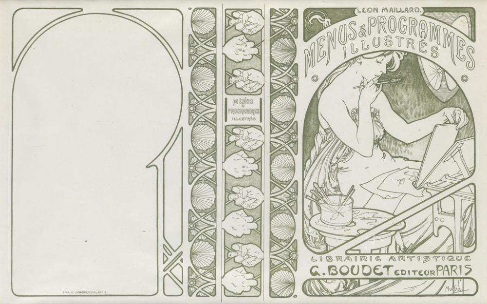 ALPHONSE MUCHA (1860-1939). MENU & PROGRAMMES ILLUSTRÉS. Book cover. Single-color proof. 1898. 13x20 inches, 33x52 cm. F. Champenois, P