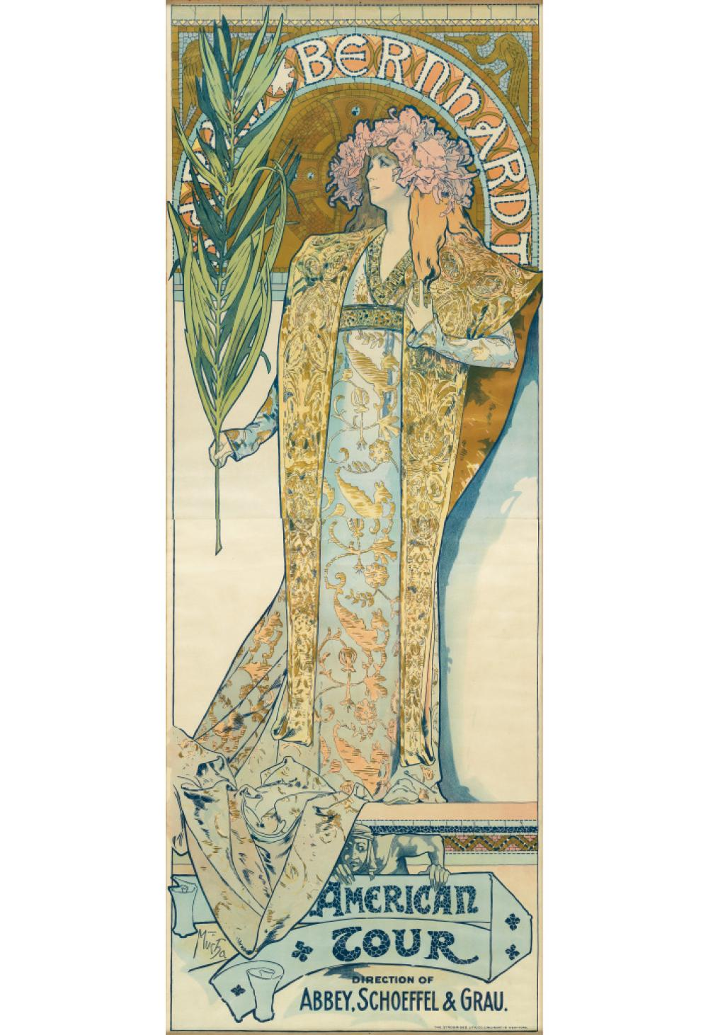 ALPHONSE MUCHA (1860-1939). SARAH BERNHARDT / AMERICAN TOUR. 1896. 75x27 inches, 191x70 cm. The Strobridge Lith, Co., Cincinnati.