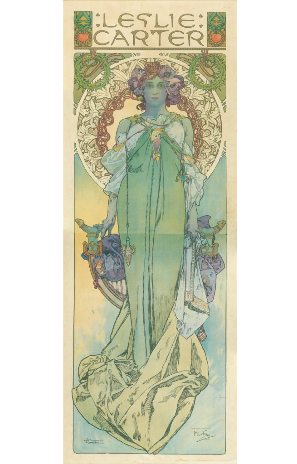 ALPHONSE MUCHA (1860-1939). LESLIE CARTER. 1908. 83x31 inches, 210x78 cm. The Strobridge Litho. Co., Cincinnati.