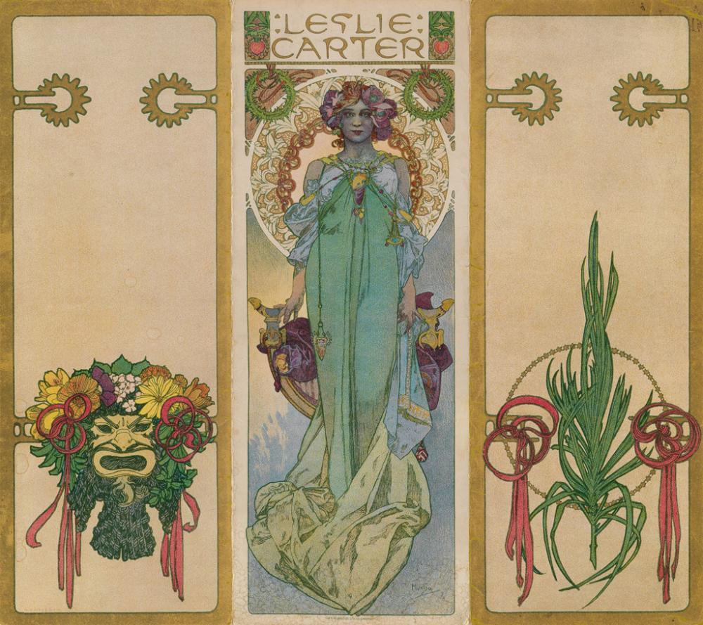 ALPHONSE MUCHA (1860-1939). LESLIE CARTER. Program Cover. 1908. 11x13 inches, 30x34 cm. The Strobridge Co., Cincinnati.