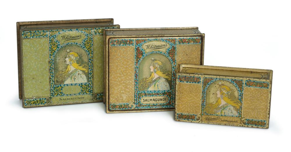 D''APRÈS ALPHONSE MUCHA (1860-1939). [WHITMAN''S CHOCOLATE.] Group of 3 tin boxes and one print advertisement. Circa 1920s. Sizes vary.