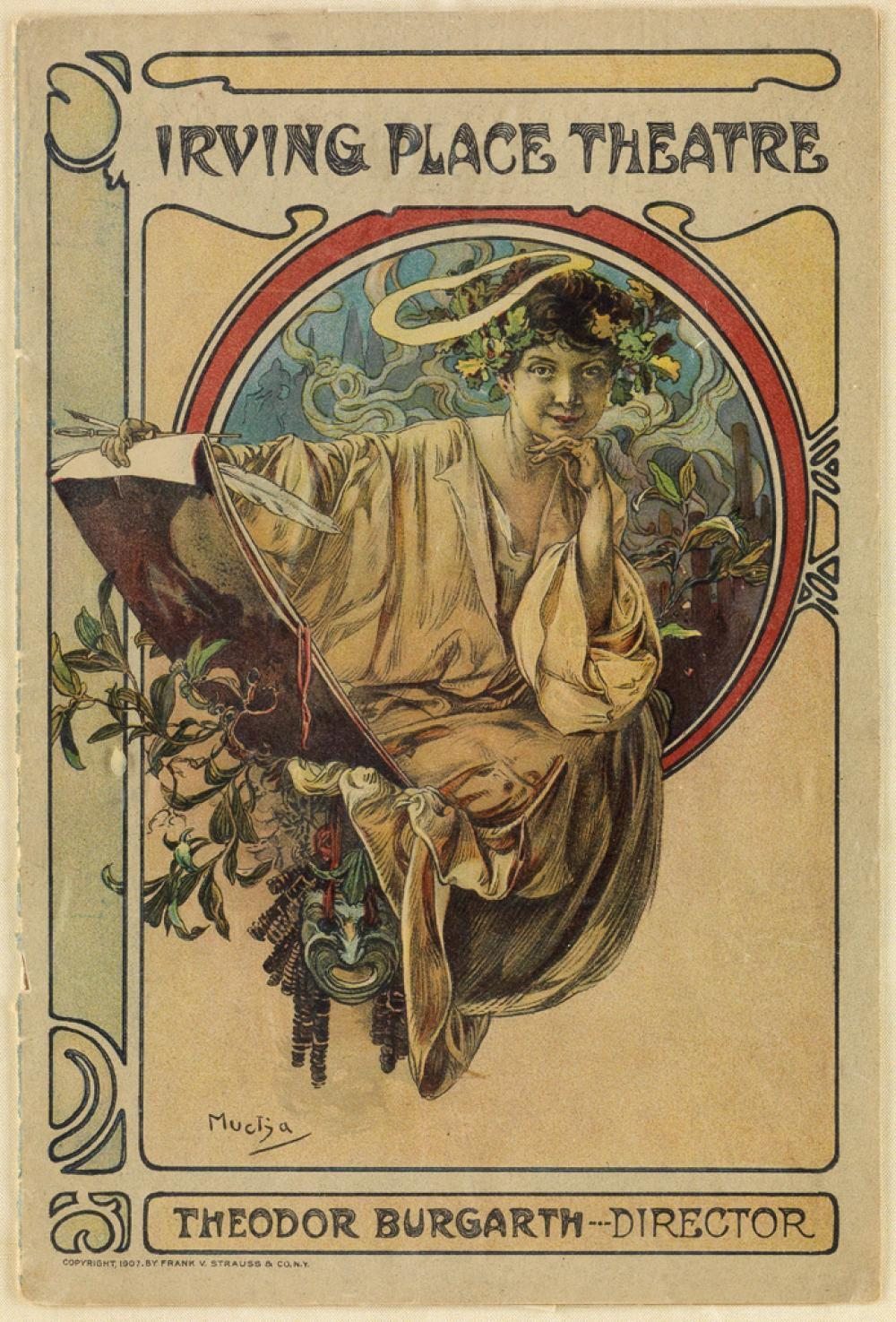 ALPHONSE MUCHA (1860-1939). IRVING PLACE THEATRE. Complete program. October 31st, 1910. 9x6 inches, 23x15 cm. Frank V. Strauss & Co., N