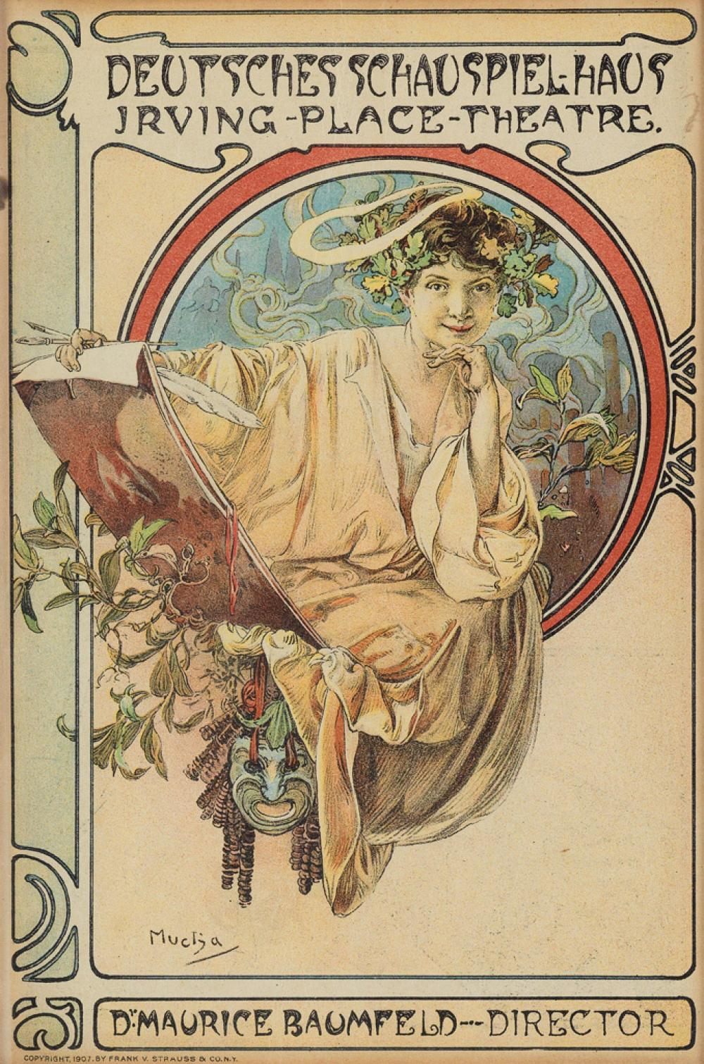 ALPHONSE MUCHA (1860-1939). DEUTSCHES SCHAUSPIEL - HAUS / IRVING - PLACE - THEATRE. Theatre program cover. 1907. 8x5 inches, 22x14 cm.