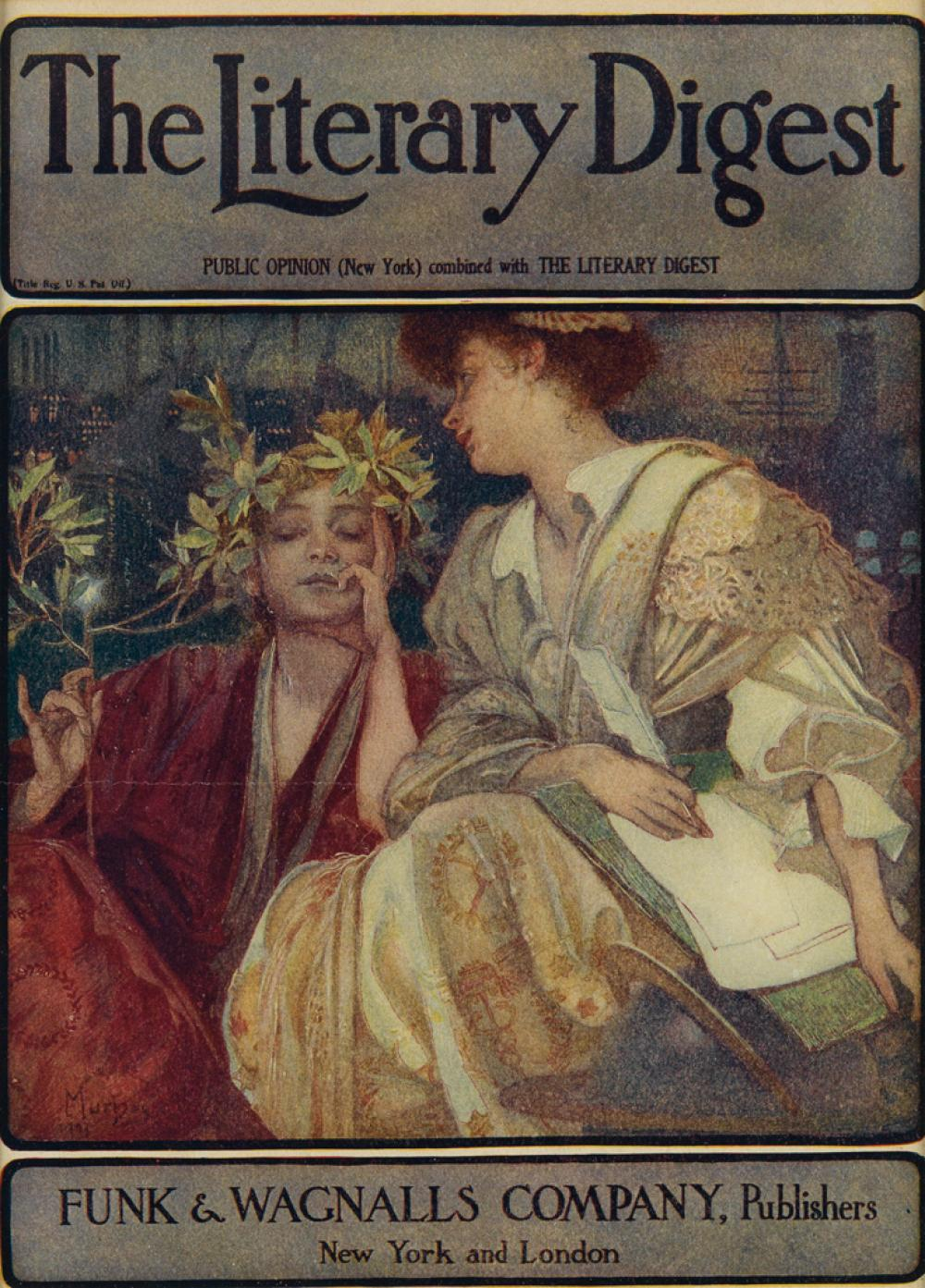 ALPHONSE MUCHA (1860-1939). THE LITERARY DIGEST. Magazine cover. 1910. 11x8 inches, 29x21 cm. Funk & Wagnall''s Company, New York.