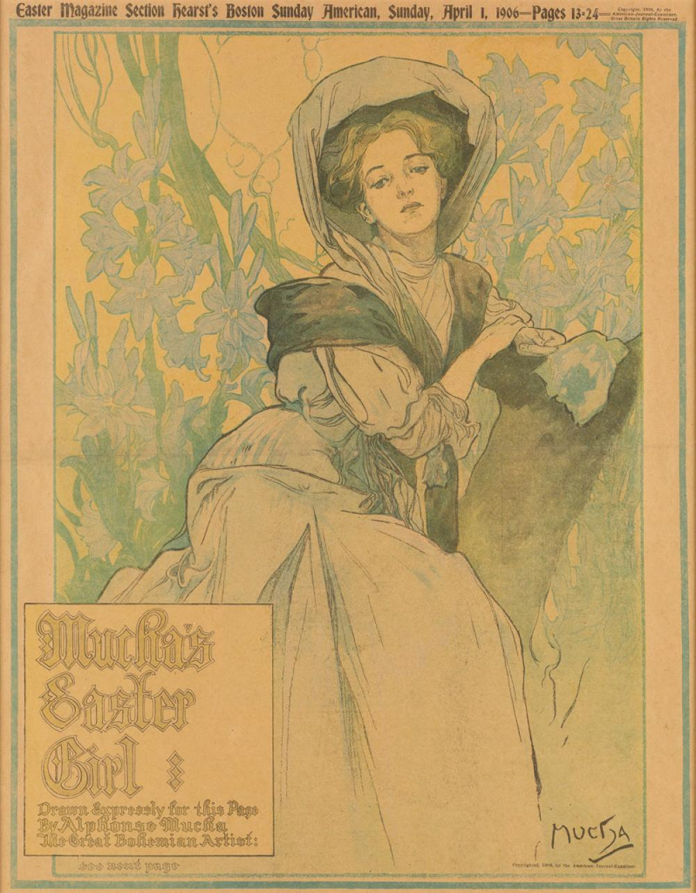 ALPHONSE MUCHA (1860-1939). MUCHA''S EASTER GIRL / HEARST BOSTON SUNDAY AMERICAN. April 1, 1906. 19x15 inches, 49x38 cm.