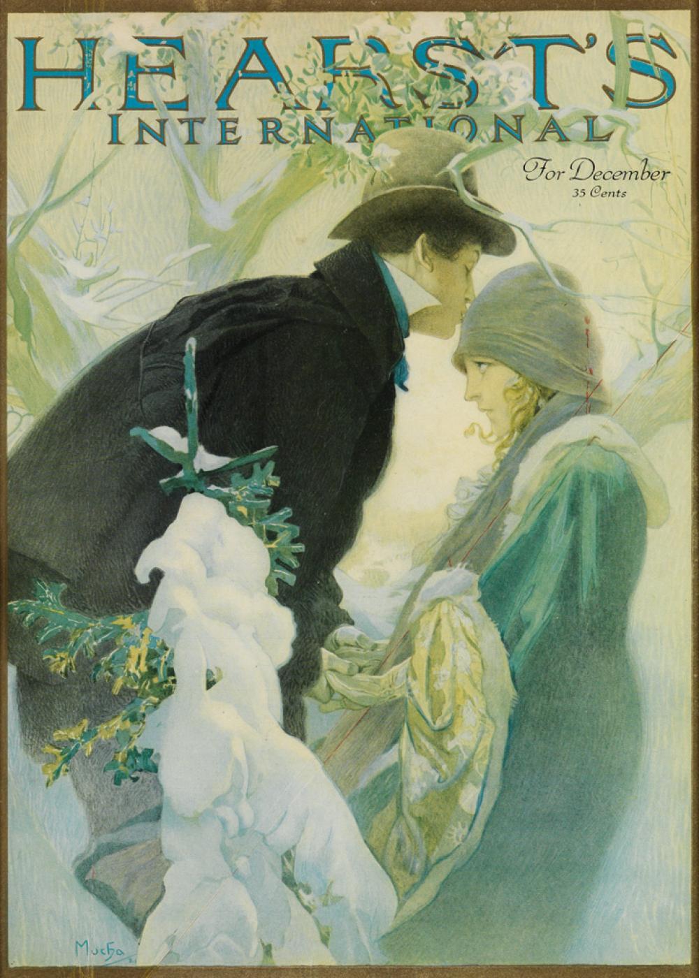 ALPHONSE MUCHA (1860-1939). HEARST''S INTERNATIONAL / FOR DECEMBER. Magazine cover. 1921. 13x9 inches, 34x24 cm.
