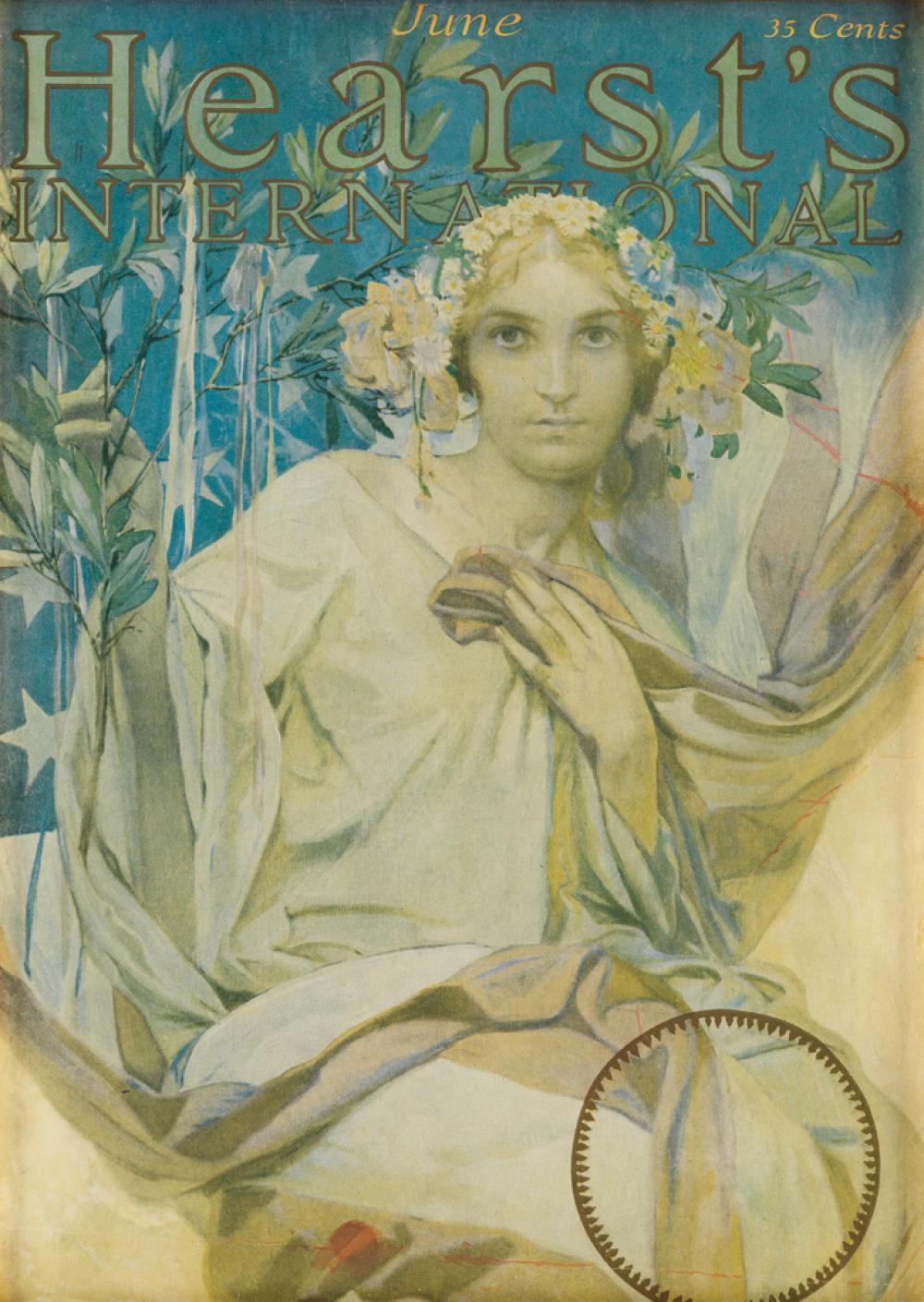 ALPHONSE MUCHA (1860-1939). HEARST''S INTERNATIONAL / JUNE. Magazine cover. 1922. 11x7 inches, 28x20 cm.