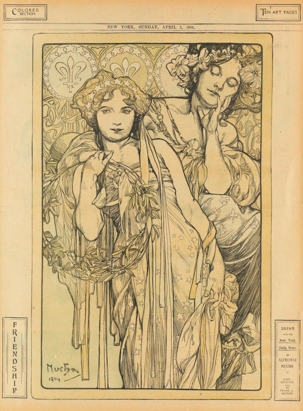 ALPHONSE MUCHA (1860-1939). FRIENDSHIP / NEW YORK DAILY NEWS. April 3, 1904. 20x15 inches, 52x38 cm.