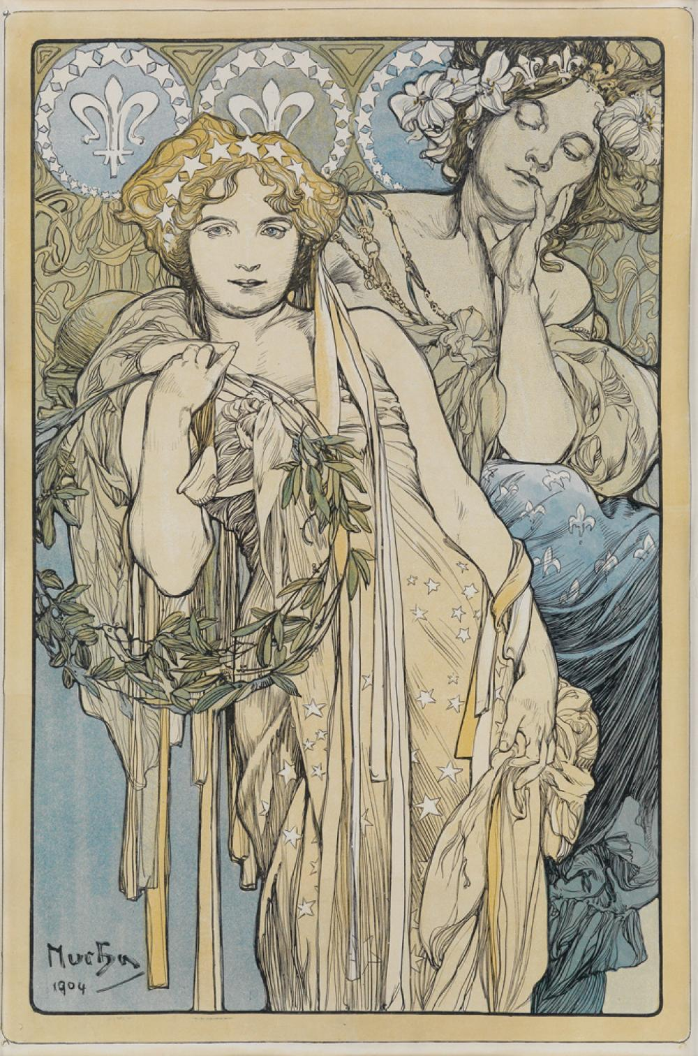 ALPHONSE MUCHA (1860-1939). [FRIENDSHIP.] 1904. 18x12 inches, 46x30 cm.