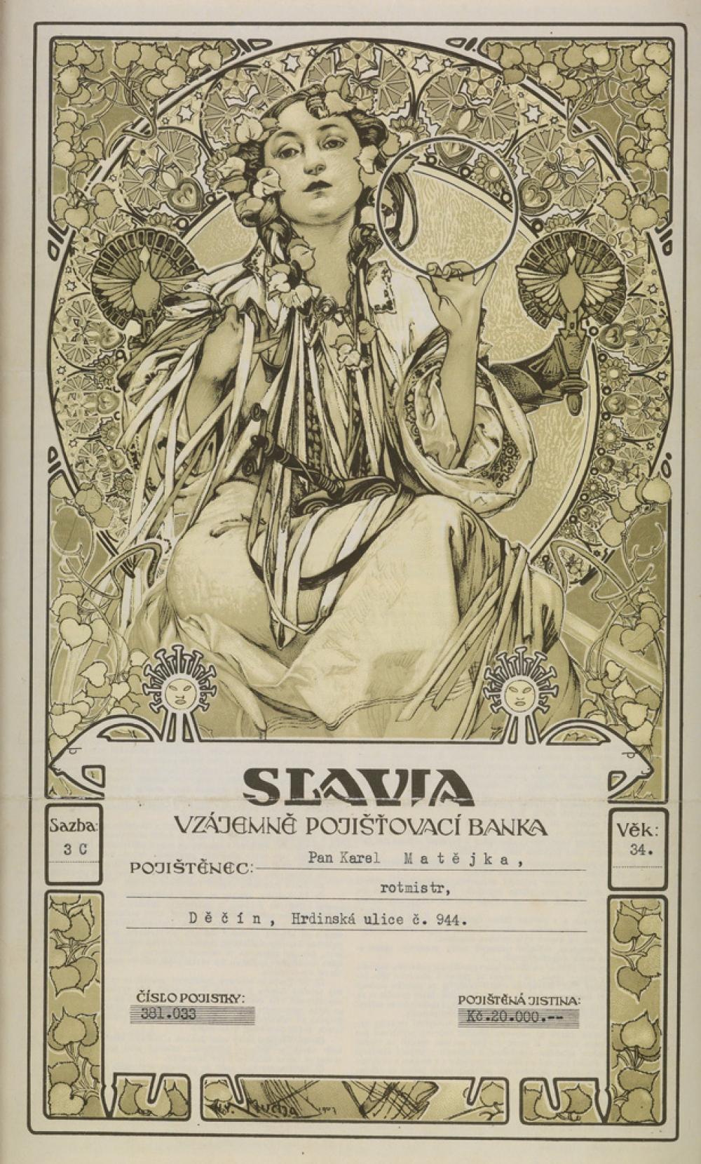 ALPHONSE MUCHA (1860-1939). SLAVIA / [BANK INSURANCE CERTIFICATE.] 1907. 15x9 inches, 38x23 cm.