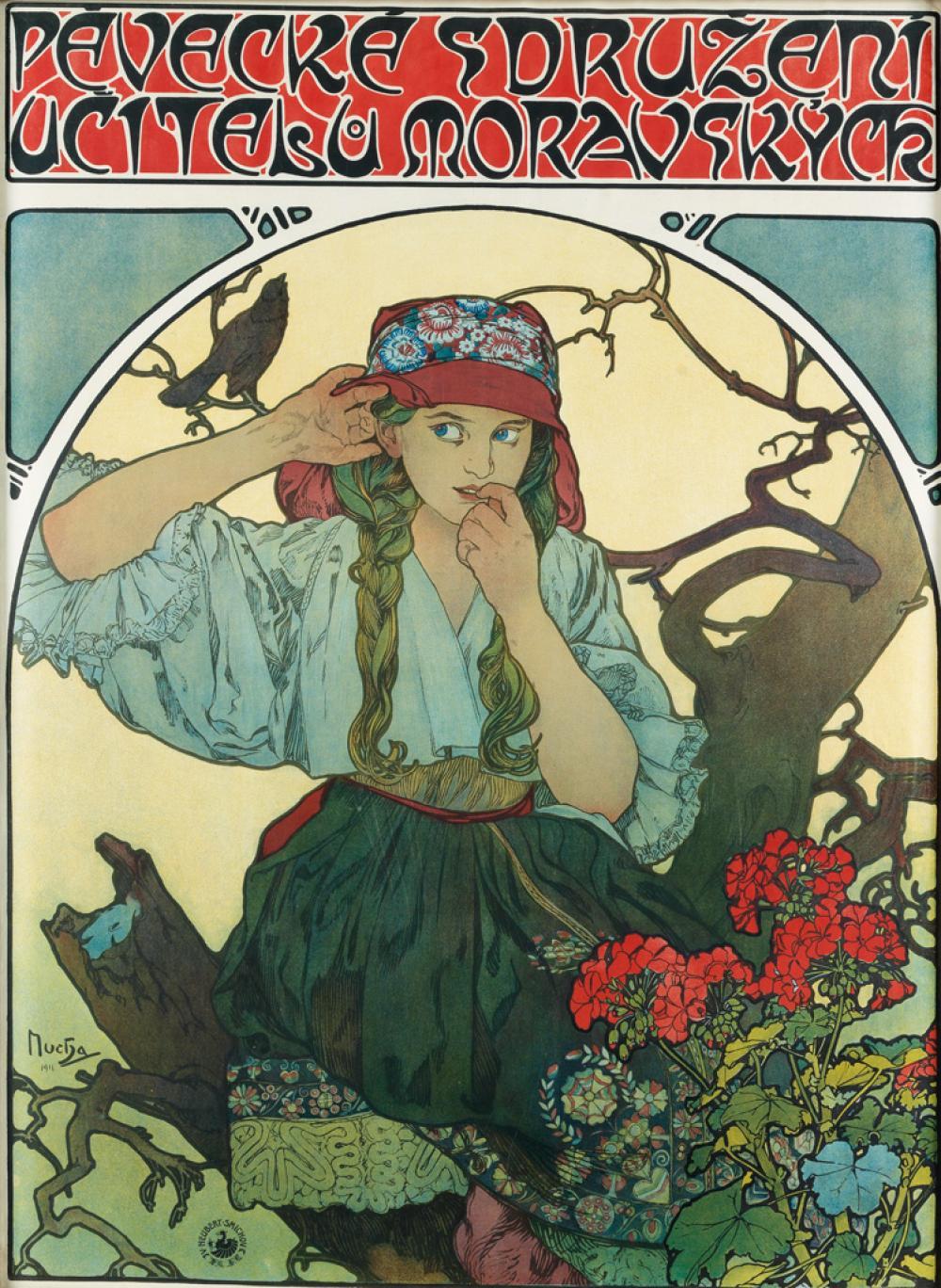 ALPHONSE MUCHA (1860-1939). PEVECKE SDRUZENI UCITELU MORAVSKYCH / [MORAVIAN TEACHER''S CHOIR.] 1911. 42x30 inches, 106x77 cm. V. Neuber