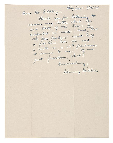 MILLER, HENRY. Two Autograph Letters Signed,