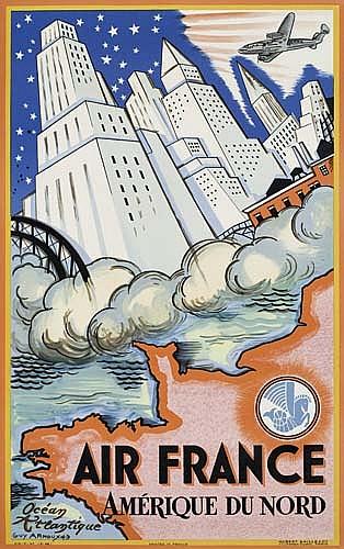 POSTER: GUY ARNOUX (1890-1951) AIR FRANCE / AMÉRIQUE DU NORD. 1946. 38x24 inches. Hubert Baille, Paris.