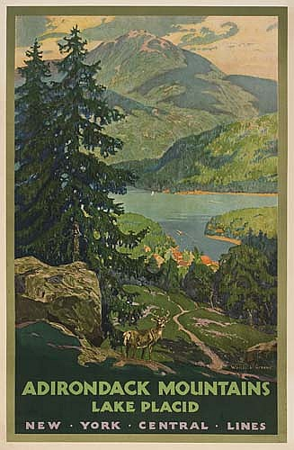POSTER: WALTER L. GREENE (1870-1956) ADIRONDACK MOUNTAINS/ LAKE PLACID. 1930. 40x26 inches. Latham Litho and Printing Co., New York.
