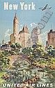 POSTER: ATTRIBUTED TO JOSEPH FEHER (1908 - ?) NEW YORK / UNITED AIRLINES. 1947. 39x25 inches., Joseph Feher, Click for value