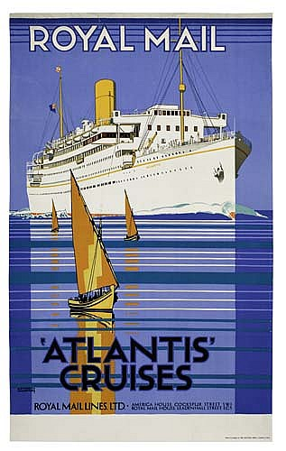 Sold Price Poster Kenneth Shoesmith 1890 1939 Royal Mail Atlantis Cruises 39x24 Inches Baynard Press London November 1 0107 1 30 Pm Est