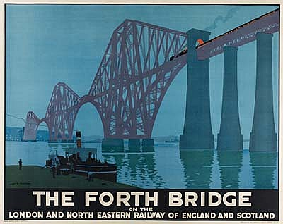 POSTER: HENRY GEORGE GAWTHORN (1879-1941) THE FORTH BRIDGE. 1928. 39x49 inches. David Allen & Sons, London.