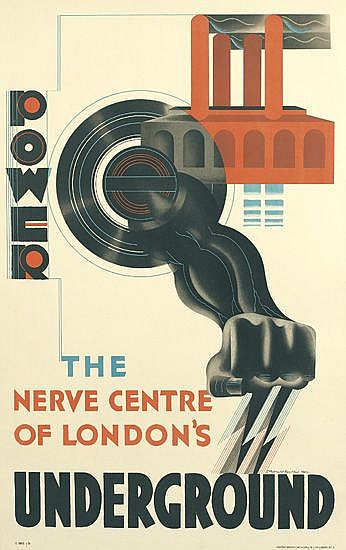 EDWARD MCKNIGHT KAUFFER (1890-1954). POWER / THE NERVE CENTRE OF LONDON'S UNDERGROUND. 1931. 40x25 inches, 101x63 cm. Vincent Brooks,