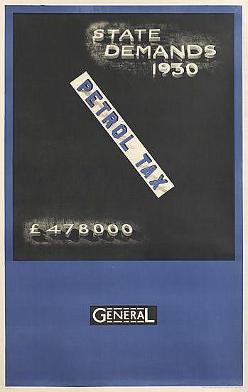 MAURICE BECK (1886-1960). PETROL TAX. 1931. 40x25 inches, 101x64 cm. John Swain & Son Ltd., London.