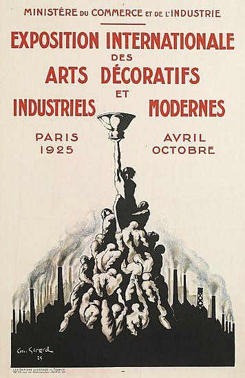 ANDRÉ GIRARD (1901-1968). EXPOSITION INTERNATIONALE DES ARTS DÉCORATIFS ET INDUSTRIELS MODERNES. 1925. 38x24 inches, 98x62 cm. Les Edit