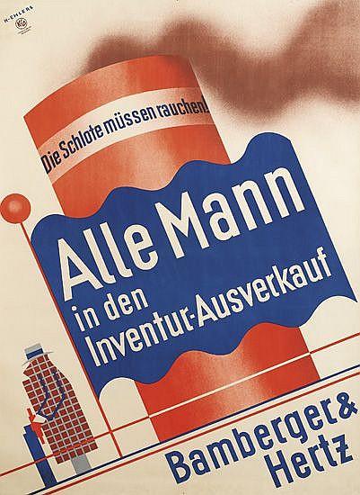 HENRY EHLERS (1897- 1988). ALLE MANN. Circa 1930. 47x33 inches, 119x86 cm. Kunst Im Druck, Munich.