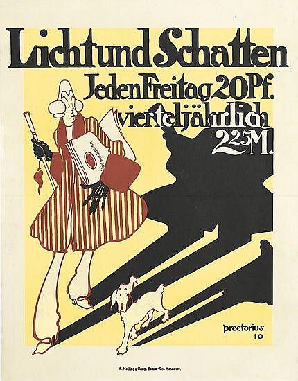 EMIL PREETORIUS (1883-1973). LICHT UND SCHATTEN. 1910. 23x18 inches, 59x46 cm. A. Molling & Comp. Kommilies, Hannover.