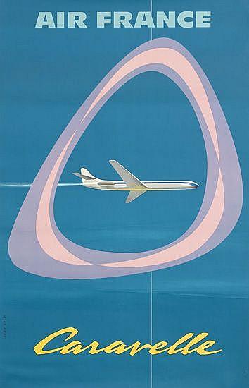 JEAN COLIN (1912-1982). AIR FRANCE / CARAVELLE. 1959. 39x24 inches, 99x61 cm. Perceval, Paris.