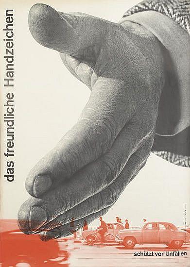 JOSEF MÜLLER-BROCKMANN (1914-1996). DAS FREUNDLICHE HANDZEICHEN. 1955. 50x35 inches, 127x90 cm. Lithographie & Cartonnage AG, Zurich.