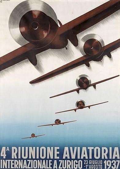 OTTO BAUMBERGER (1889-1961). RIUNIONE AVIATORIA. 1937. 49x35 inches, 124x89 cm. J.C. Müller, Zurich.